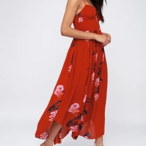 NWT Free People Beau Red Floral Maxi Dress
